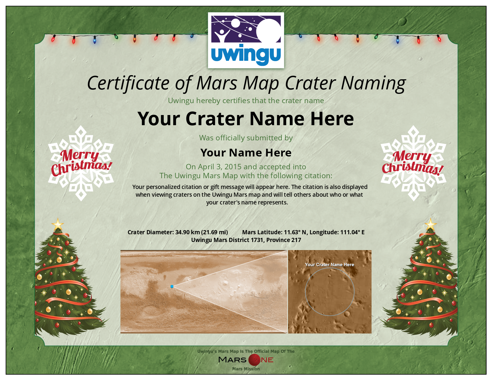 Mars Crater Naming Certificates Uwingu